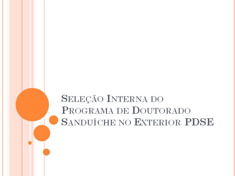 Seleção Interna do Programa de Doutorado Sanduíche no Exterior PDSE