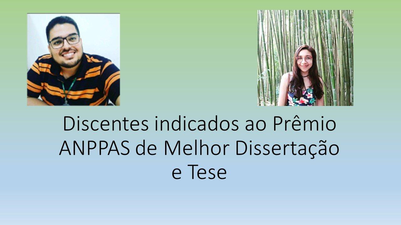 Rodrigo Couto e Monica Alves indicados a concorrer ao Prêmio ANPPAS